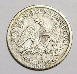 1853-p Flèches & Rayons Assis Liberty Demi Dollar Nice Vf #3c9