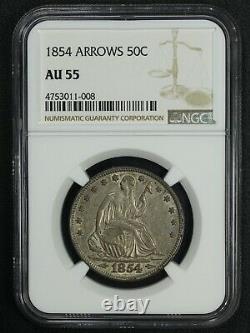 1854 Avec Arrows Seated Liberty Argent Demi-dollar Ngc Au 55