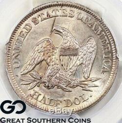 1854 Pcgs Ms 62 La Moitié Assis Liberté Dollar Pcgs Monnaie Etat 62 Livraison Gratuite