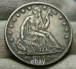 1855-o Liberté Assise Demi-dollar 50 Cents, Nice Coin, Livraison Gratuite (9383)