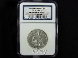 1855-o Liberté Assise Demi-dollar Avec Flèches Ngc Shippereck Effet Ss République 008
