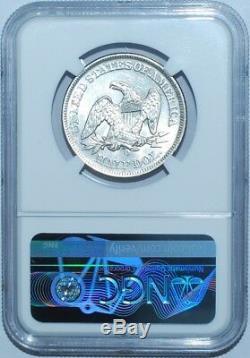 1856 O Ngc Au58 Wb-103 Rpd Repunched Date De La Liberté Assis Demi-dollar