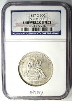 1857-o Assis Liberty Half Dollar 50c Ngc Certifié Ss Republic Naufrage