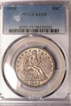 1858 50c Liberté Assis Demi Dollar Pcgs Au55