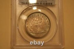 1858 50c Liberty Seated Demi-dollar Pcgs Graded Ms-63 Nice Color Toning