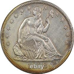 1858 Demi-liberté Assis Dollar High Grade Près Looks Uncirc Choix