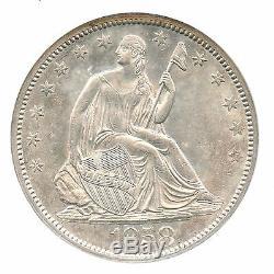 1858 Liberté Assis Demi-dollar, Ngc Ms 61