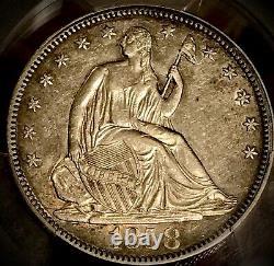 1858 Liberté Assise Demi-dollar Ngc Au50