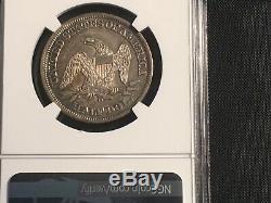 1858 O Liberté Demi-dollar Assis Ngc Au 55 Gentil Tonique Date De Dur