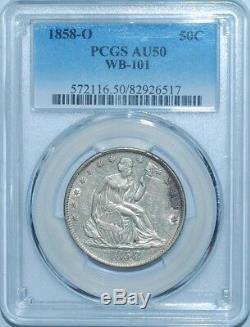 1858 O Pcgs Au50 Wb-101 Demi-liberté Assis Dollar