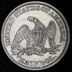1858 Seated Demi-liberté Dollar Choix Au + / Unc Livraison Gratuite E339 Rlm