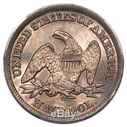 1858-o 50c Liberté Assis Demi Dollar Pcgs Au58
