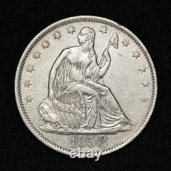 1858-o 50c Seated Liberty Half Dollar, Au/unc Détails Lot#v070