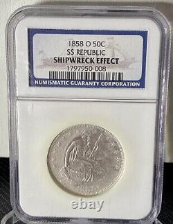 1858-o Assis Liberte D'argent Demi-dollar Ss République Naufrage-ngc-trésor