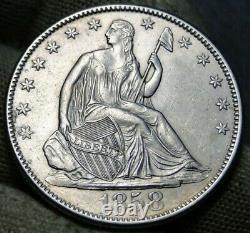 1858-o Libre Assise Demi Dollar 50 Cents, Pièce Très Nice, Livraison Gratuite (422)