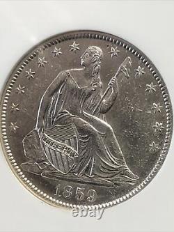1859-o Ngc Navigateur Ss République Sièged Liberty Half Dollar 50c Us Coin