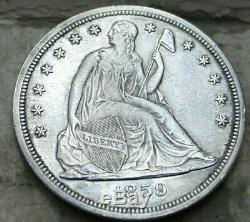 1859-s Seated Liberté Silver Dollar. Au ++