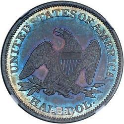1860 La Moitié Assis Dollar Ngc Ms62 Cac! Monster Toned Rainbows! Le Meilleur Ive Vu