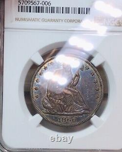 1860 Liberté Assis Demi-50c Ngc Xf-45 Extra Fine Coin Noir Et Blanc