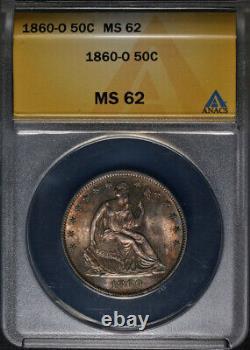 1860-o Assis Demi-dollar Anacs Ms62 Superbe Eye Appeal Strong Strike
