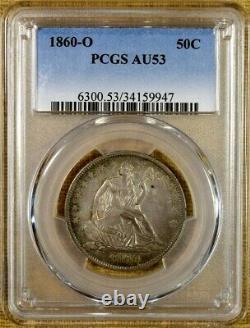 1860-o Pcgs Au53 Seated Demi-dollar