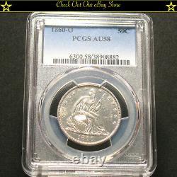 1860-o U. U. Silver Seated Liberty Half Dollar 50c Pcgs Au58 90% Silver Sweet Coin