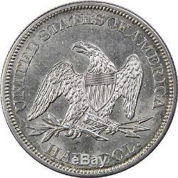 1861 50c Moitié Assis Liberty Silver Dollar Choix Coin A Propos Ongecirculeerd