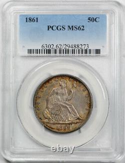 1861 50c Seated Liberty Half Dollar Pcgs Ms 62 Date De Guerre Civile Non Circulée Ce
