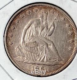 1861 Assis Liberty Silver Argent Half Dollar Coin 50c Au A Propos Ongecirculeerd