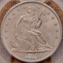 1861 Date Guerre Civile Assis Moitié, Pcgs Ms63, Davidkahnrarecoins Lustre Satin