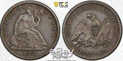 1861 Liberté Assis Demi-dollar Pcgs Xf45 Guerre Civile Era