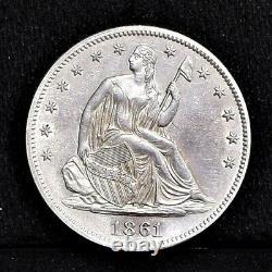 1861 Liberté Assise Demi-dollar Ch Au Détails (#35035)