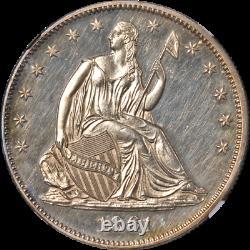 1861 Modèle Assis Demi-dollar Preuve J-279 Ngc Pf61 Strong Strike
