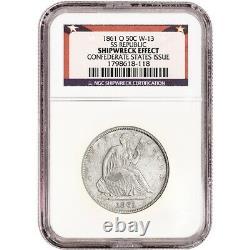 1861 O États-unis Assis Liberty Silver Half Dollar 50c Ngc Shipwreck Effect Ss Republic