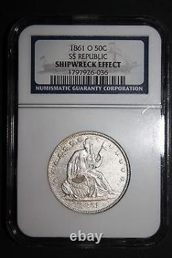 1861 O Seated Liberty Demi-dollar Du Naufrage De La République Ss Ngc Certifié