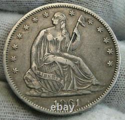 1861 Seated Liberté Demi-dollar 50 Cents, Nice Coin, Livraison Gratuite. (9531)