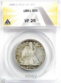 1861 Seated Liberty Demi-dollar Argent 50c Circulé Très Fin Anacs Vf25