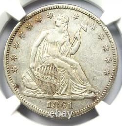 1861 Seated Liberty Half Dollar 50c Coin Ngc Au Details Rare CIVIL War Date