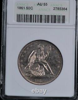 1861 Seated Liberty Half Small White Anacs Au 55 Shimmering White Gold Superposition