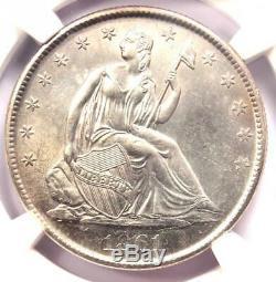1861-o Assis Liberté Demi-dollar 50c Coin Ngc Ongecirculeerd Détails Unc (ms)