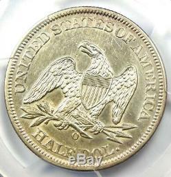 1861-o Assis Liberté Demi-dollar 50c. Harponné Olive & Bisected Date! Pcgs Au