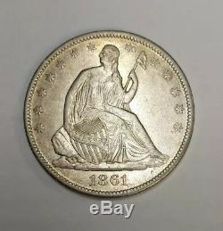 1861-o Assis Liberté Demi-dollar Presque Ongecirculeerd Détails