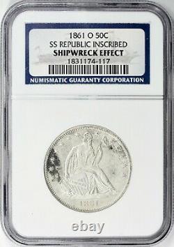 1861-o Assis Liberté Demi-dollar Shipwreck Effet Ss République Inscribed Ngc