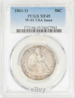 1861-o Assis Liberté Demi-dollar W-01 Problème Rare Union Pcgs Xf45! # Ayu5