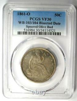 1861-o Assis Liberty Half Dollar 50c. Speared Olive & Bisected Date Pcgs Vf30