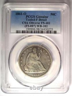 1861-o Csa Obverse Seated Liberty Demi-dollar 50c Fs-401 Détails De L'amende De Pcgs