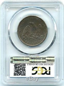 1861-o Liberté Assis Demi-dollar En Argent Pcgs Véritable Ua, Attrayant Foncé Tonique