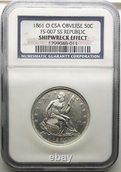 1861-o Liberté Assise Demi-dollar Confederate Csa Fs-007 Ss Republic Navire