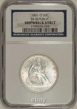 1861-o Liberté Assise Demi-dollar W-13 Numéro De L'asc Navigateur Ngc! République Yougoslave De Macédoine