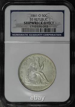 1861-o Liberté Assise Demi-dollars Ss République Ngc Épave Dans Le Boîtier D'affichage